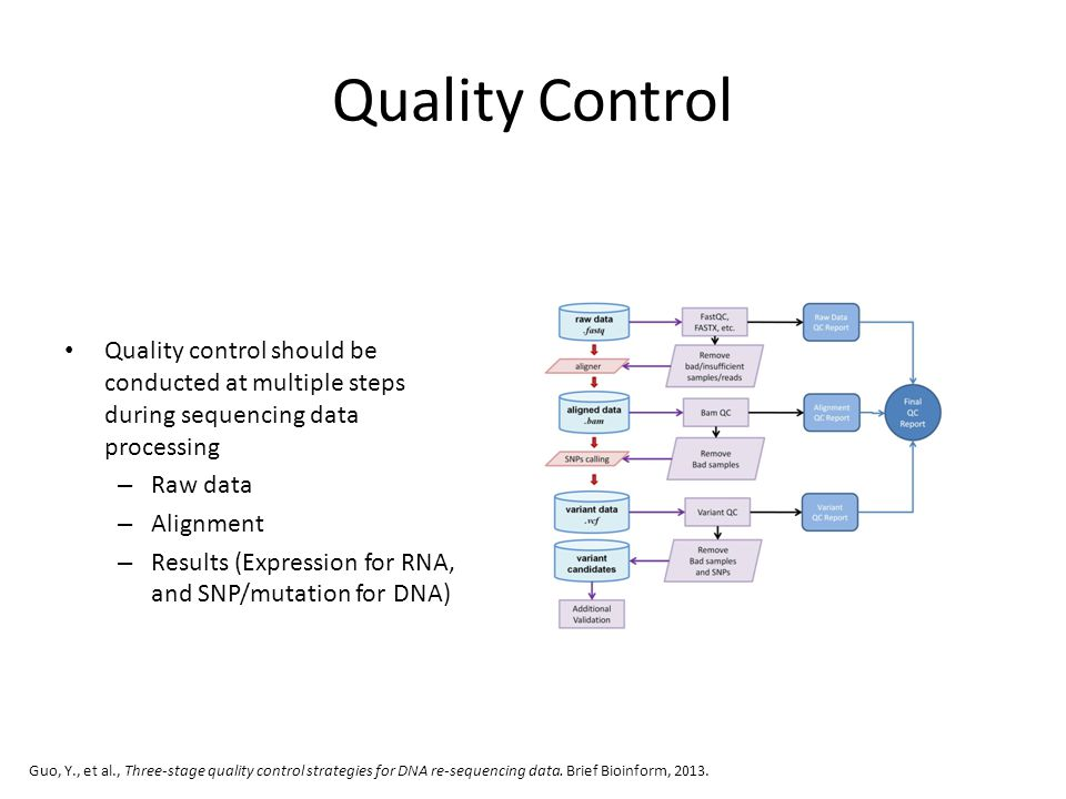 Quality Control Quality control should be conducted at multiple steps during sequencing data processing – Raw data – Alignment – Results (Expression f