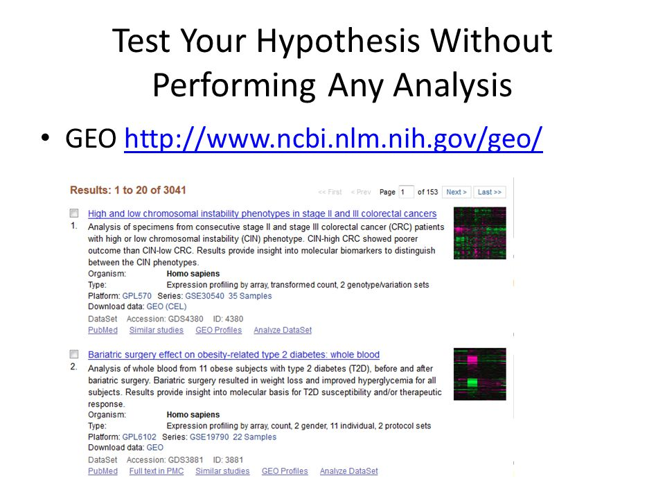 Test Your Hypothesis Without Performing Any Analysis GEO http://www.ncbi.nlm.nih.gov/geo/http://www.ncbi.nlm.nih.gov/geo/