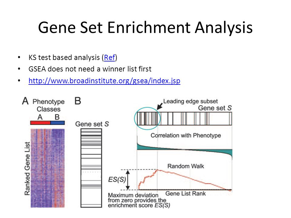 Gene Set Enrichment Analysis KS test based analysis (Ref)Ref GSEA does not need a winner list first http://www.broadinstitute.org/gsea/index.jsp