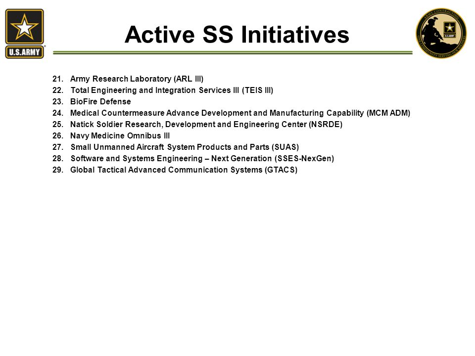 Active SS Initiatives 21.Army Research Laboratory (ARL III) 22.Total Engineering and Integration Services III (TEIS III) 23.BioFire Defense 24.Medical Countermeasure Advance Development and Manufacturing Capability (MCM ADM) 25.Natick Soldier Research, Development and Engineering Center (NSRDE) 26.Navy Medicine Omnibus III 27.Small Unmanned Aircraft System Products and Parts (SUAS) 28.Software and Systems Engineering – Next Generation (SSES-NexGen) 29.Global Tactical Advanced Communication Systems (GTACS)