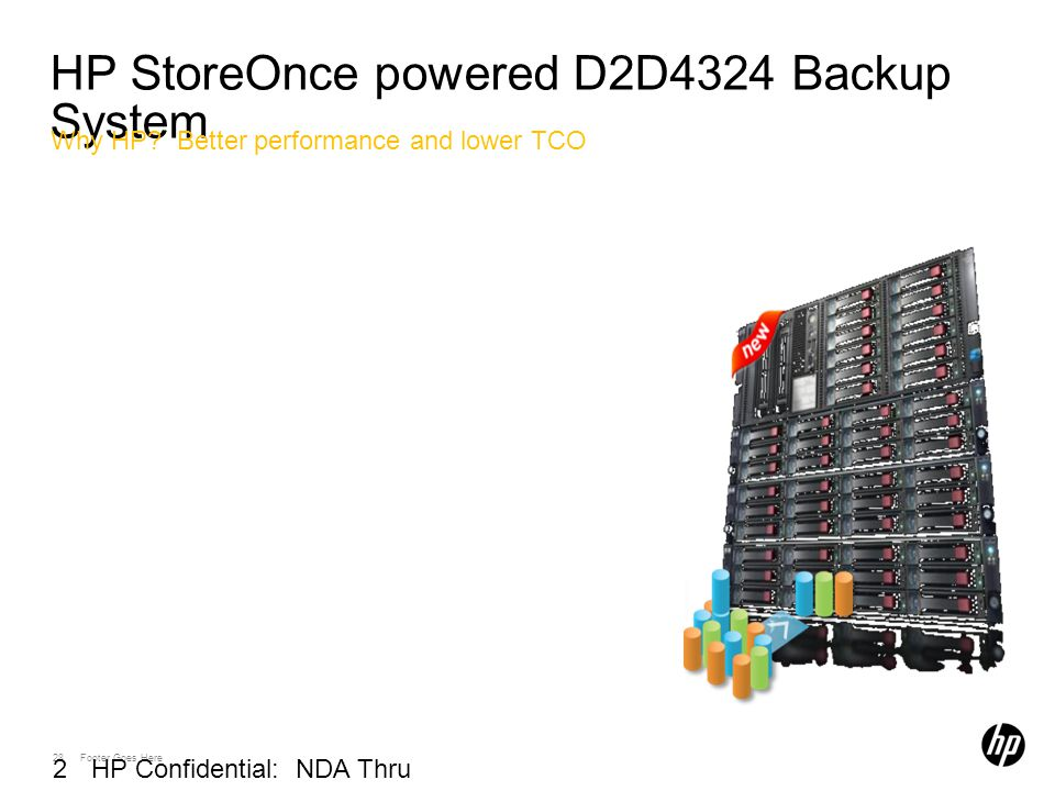 28 Footer Goes Here 28 HP Confidential: NDA Thru 03/01/2010 HP StoreOnce powered D2D4324 Backup System Why HP.