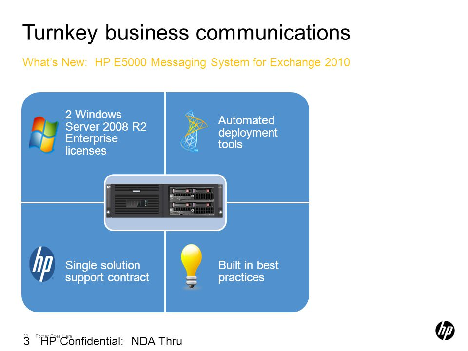33 Footer Goes Here 33 HP Confidential: NDA Thru 03/01/2010 Turnkey business communications What's New: HP E5000 Messaging System for Exchange 2010 –E5300: 500 users –E5500: 1,000 users –E5700: 3,000 users –Optional expansion nodes and 1GB or 2.5GB mailbox configs.