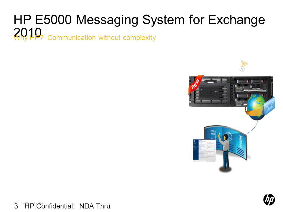 35 Footer Goes Here 35 HP Confidential: NDA Thru 03/01/2010 HP E5000 Messaging System for Exchange 2010 Why HP.