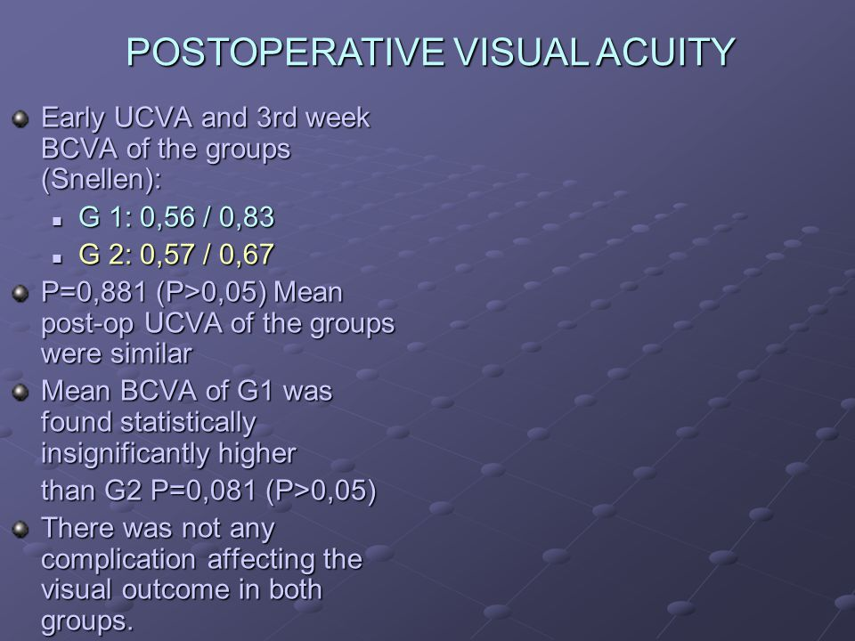 Early UCVA and 3rd week BCVA of the groups (Snellen): G 1: 0,56 / 0,83 G 1: 0,56 / 0,83 G 2: 0,57 / 0,67 G 2: 0,57 / 0,67 P=0,881 (P>0,05) Mean post-op UCVA of the groups were similar Mean BCVA of G1 was found statistically insignificantly higher than G2 P=0,081 (P>0,05) There was not any complication affecting the visual outcome in both groups.