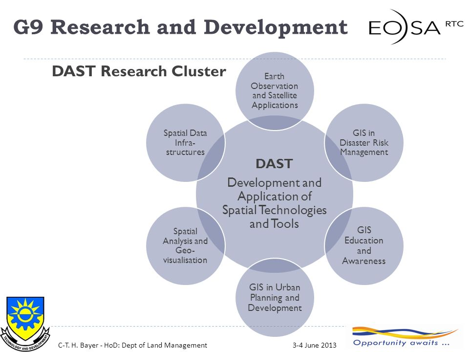 27 DAST Development and Application of Spatial Technologies and Tools Earth Observation and Satellite Applications GIS in Disaster Risk Management GIS