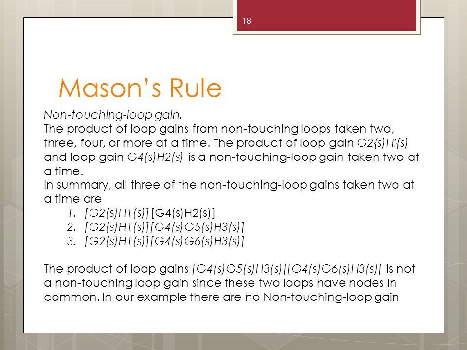 Mason's Rule 18 Non-touching-loop gain.