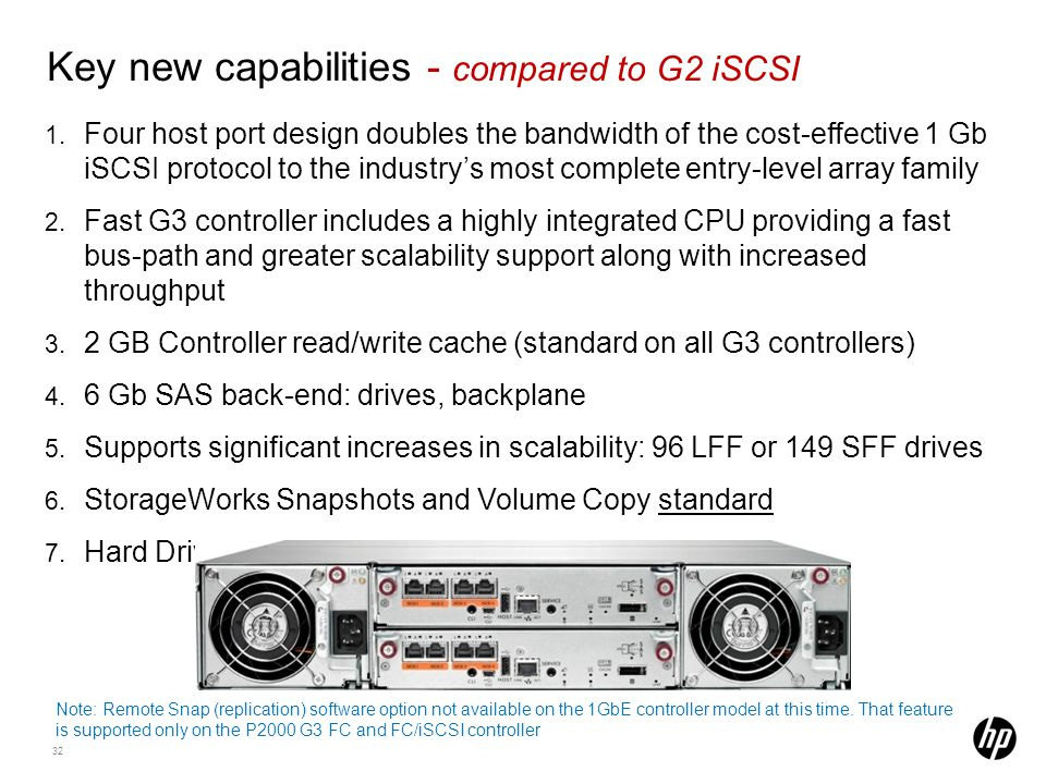 HP Restricted. For HP and Channel Partner internal use.32 Key new capabilities - compared to G2 iSCSI 1. Four host port design doubles the bandwidth o