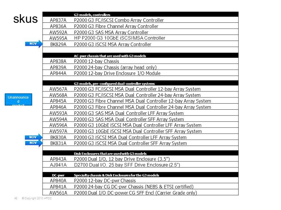 © Copyright 2010 HPDC48 skus G3 models, controllers AP837AP2000 G3 FC/iSCSI Combo Array Controller AP836AP2000 G3 Fibre Channel Array Controller AW592