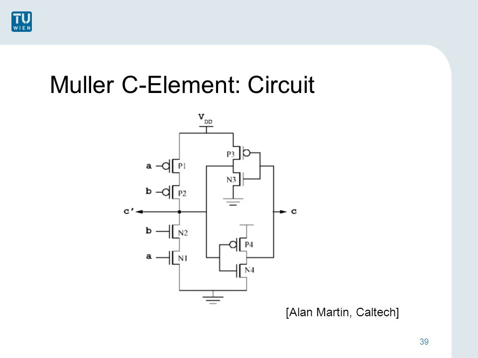 Muller C-Element: Circuit 39 [Alan Martin, Caltech]