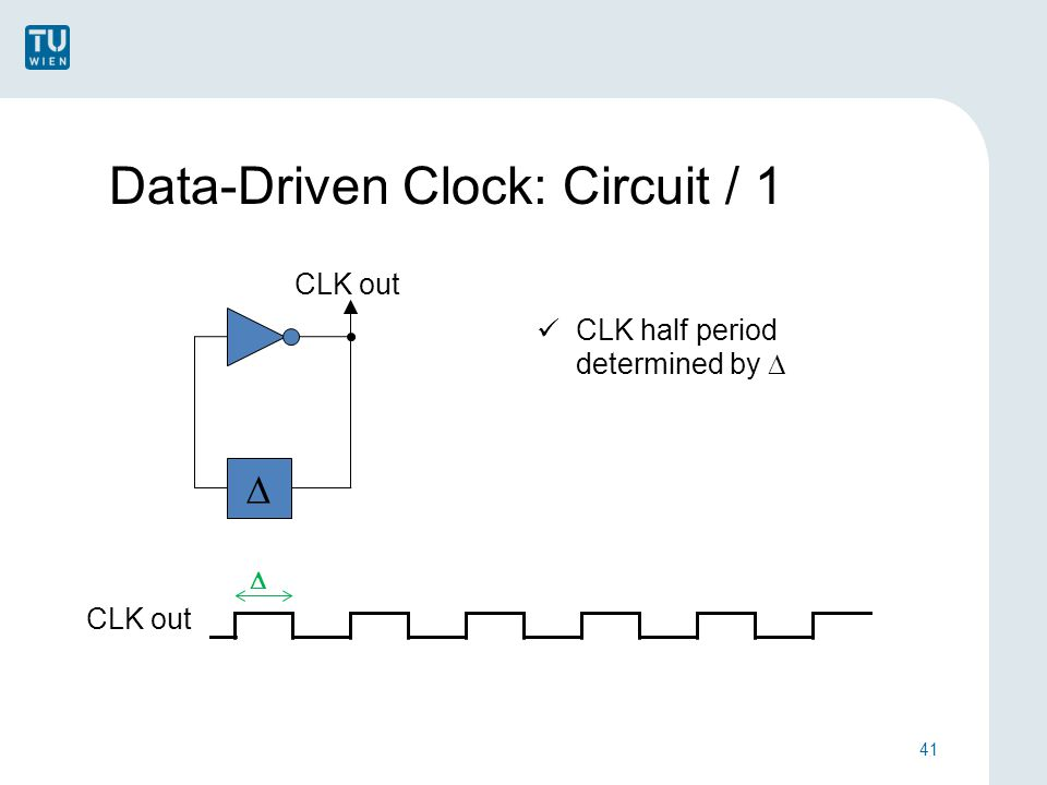 Data-Driven Clock: Circuit / 1 41 CLK out  CLK half period determined by  