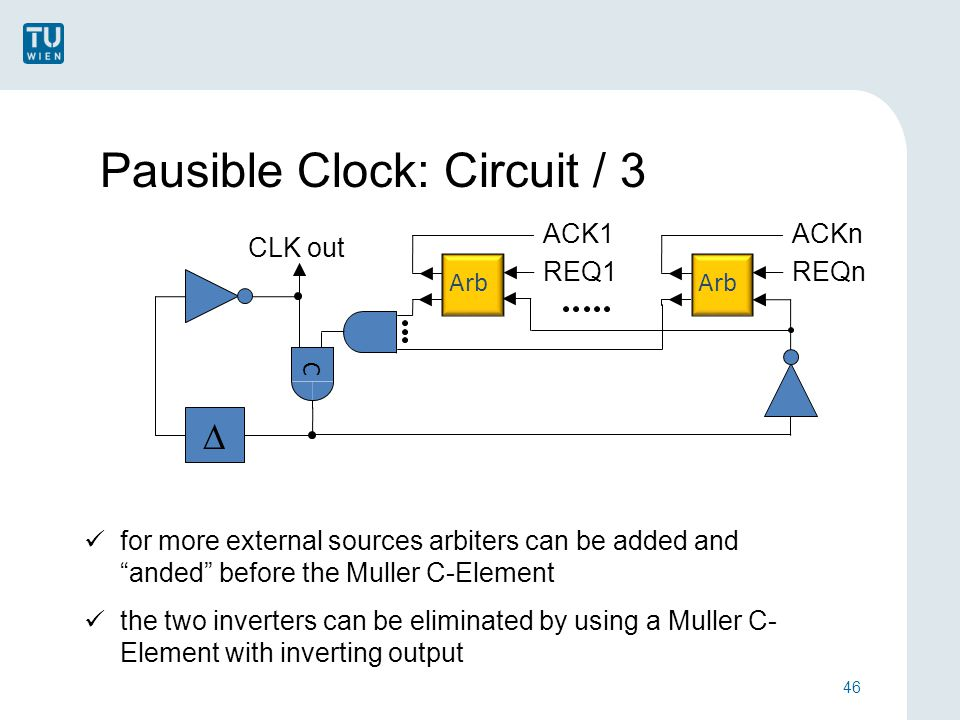 Pausible Clock: Circuit / 3 46  C REQ1 ACK1 for more external sources arbiters can be added and anded before the Muller C-Element the two inverters can be eliminated by using a Muller C- Element with inverting output CLK out Arb REQn ACKn Arb