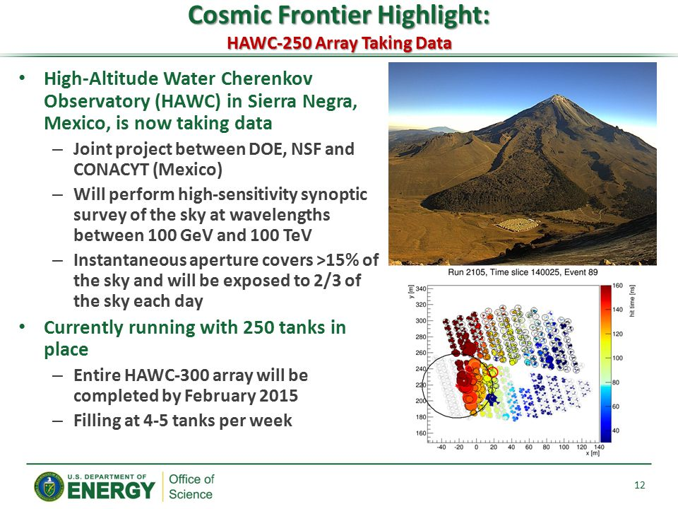 High-Altitude Water Cherenkov Observatory (HAWC) in Sierra Negra, Mexico, is now taking data – Joint project between DOE, NSF and CONACYT (Mexico) – W