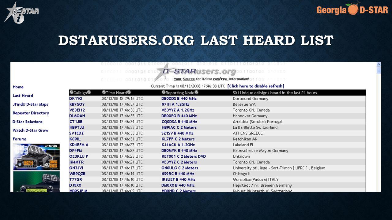 DSTARUSERS.ORG LAST HEARD LIST
