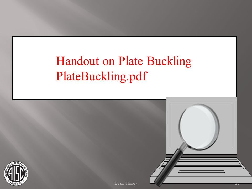 Handout on Plate Buckling PlateBuckling.pdf 28Beam Theory