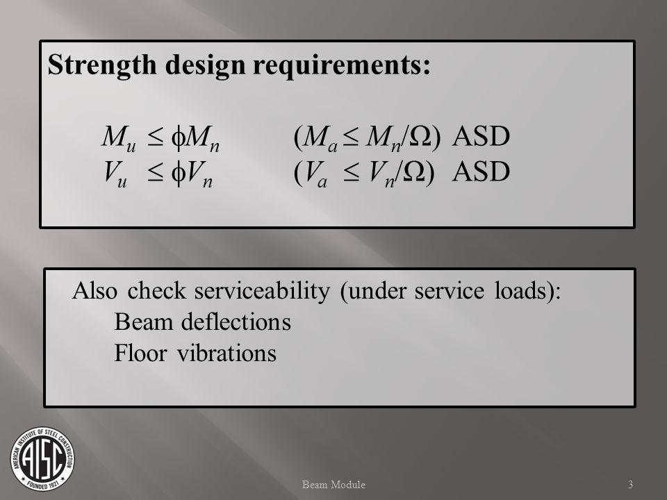 Strength design requirements: M u   M n (M a  M n /Ω)ASD V u   V n (V a  V n /Ω)ASD Also check serviceability (under service loads): Beam deflections Floor vibrations 3Beam Module