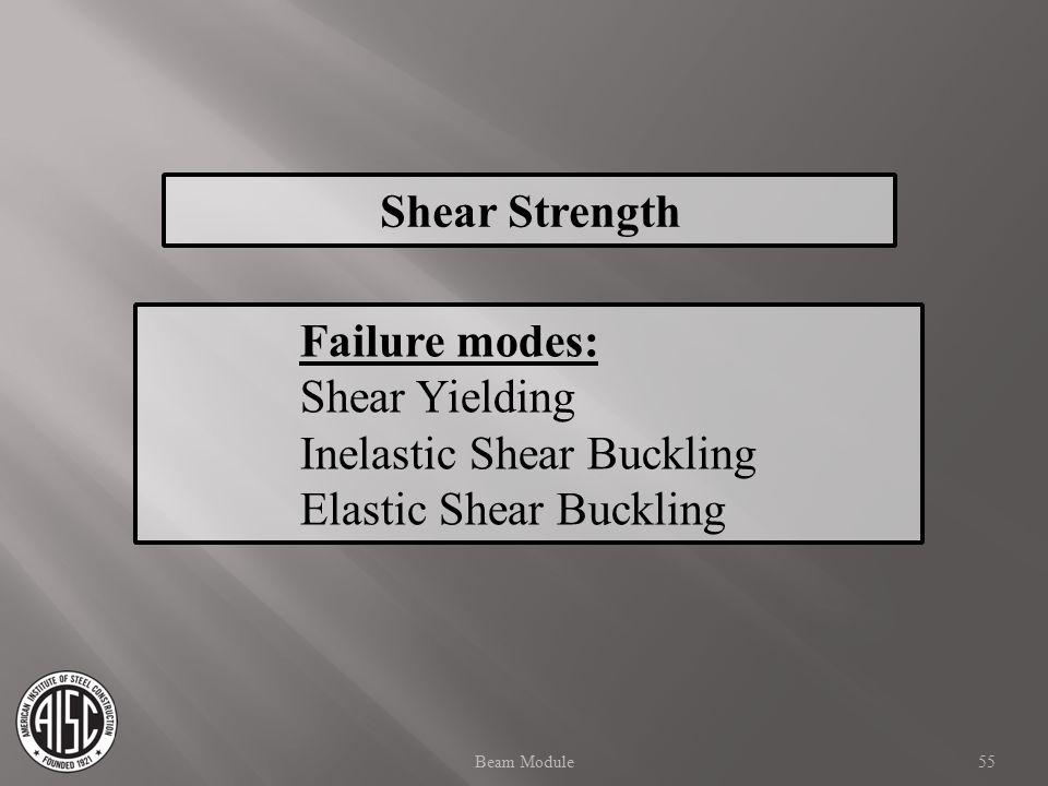 Shear Strength Failure modes: Shear Yielding Inelastic Shear Buckling Elastic Shear Buckling 55Beam Module