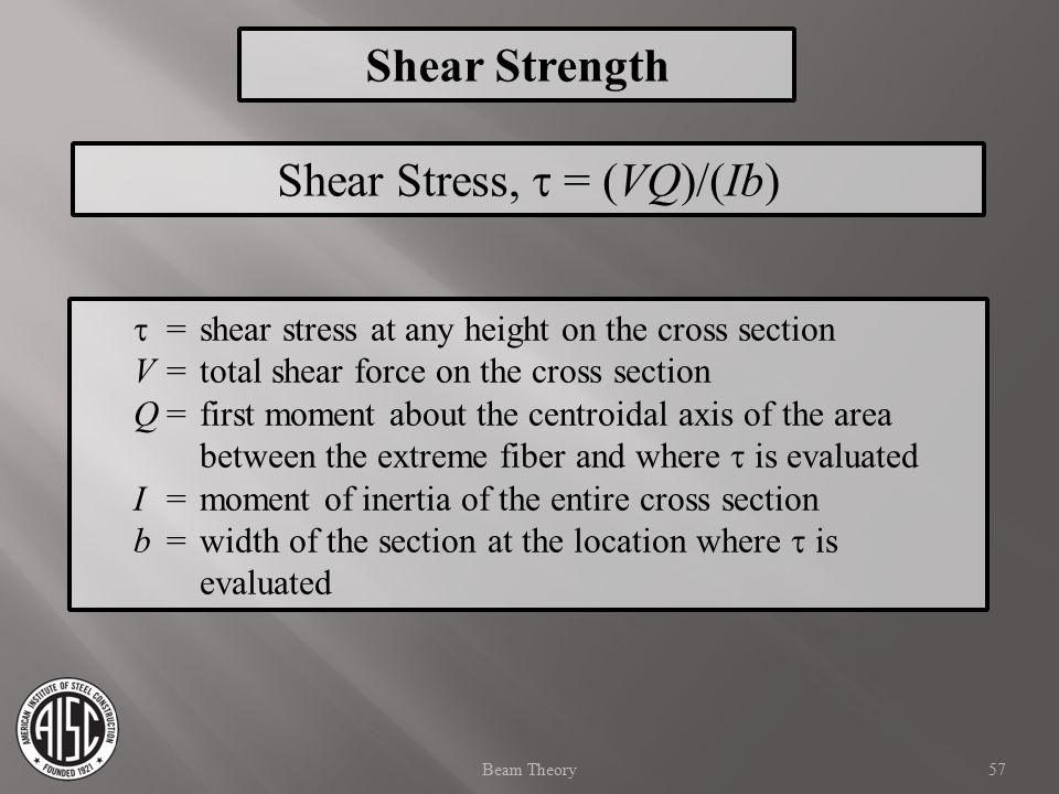 Shear Stress,  = (VQ)/(Ib)  =shear stress at any height on the cross section V=total shear force on the cross section Q=first moment about the centr