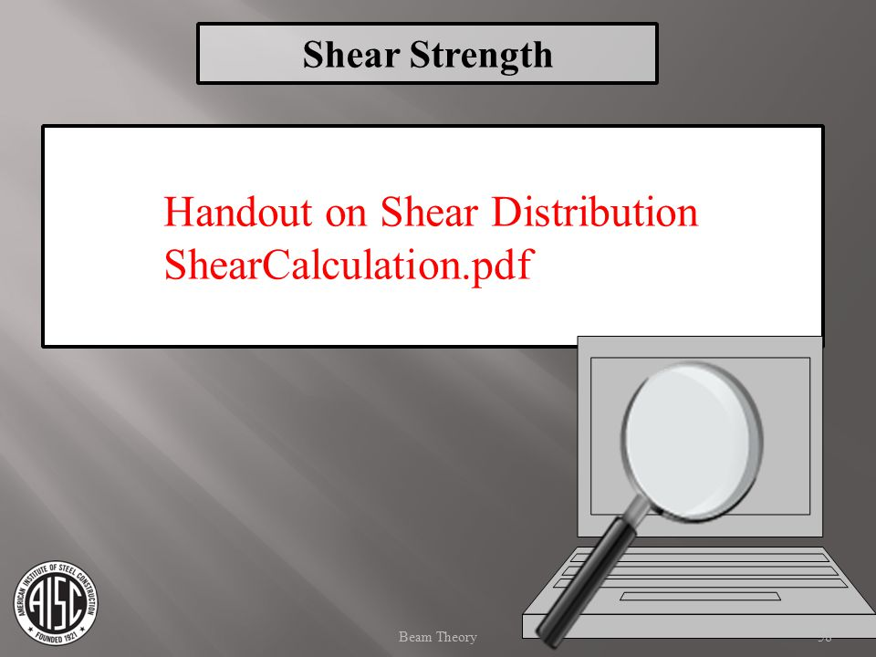 Handout on Shear Distribution ShearCalculation.pdf 58Beam Theory Shear Strength