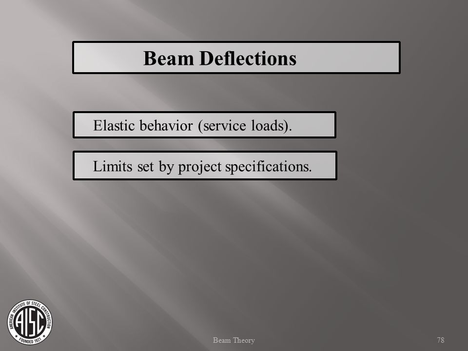 Elastic behavior (service loads). Limits set by project specifications. Beam Deflections 78Beam Theory