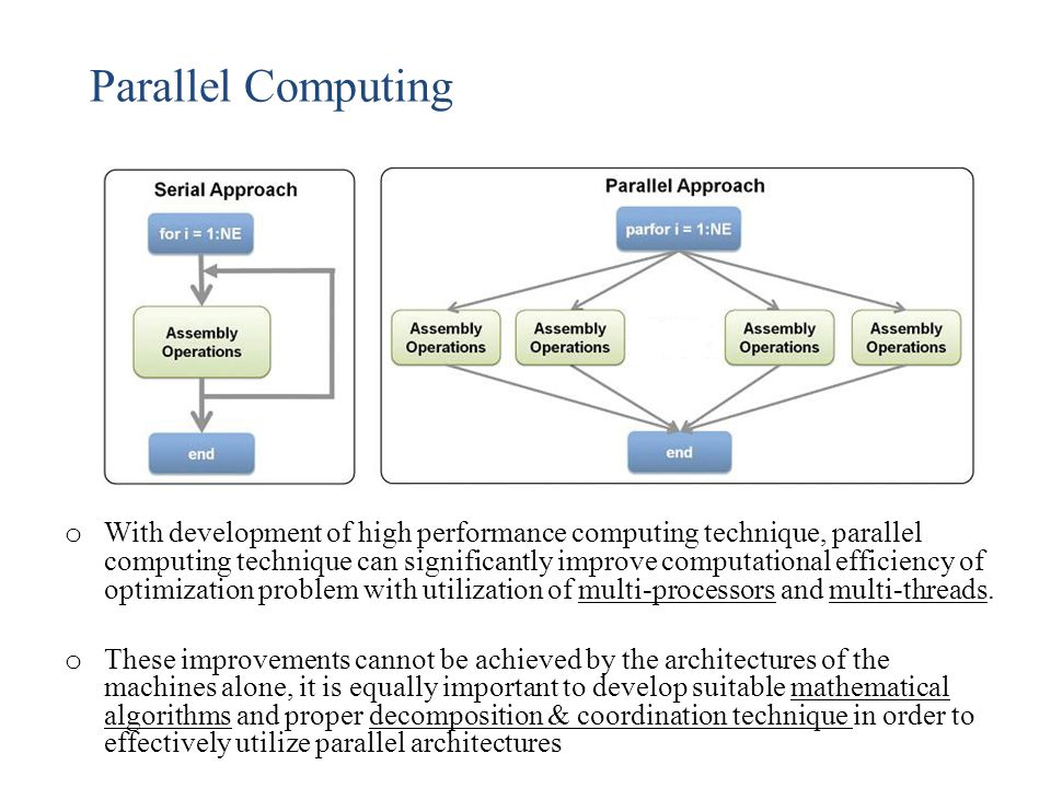 Parallel Computing o With development of high performance computing technique, parallel computing technique can significantly improve computational ef