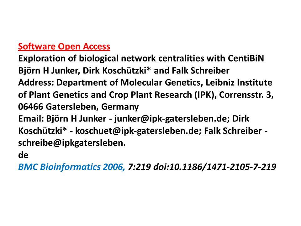 Software Open Access Exploration of biological network centralities with CentiBiN Björn H Junker, Dirk Koschützki* and Falk Schreiber Address: Departm