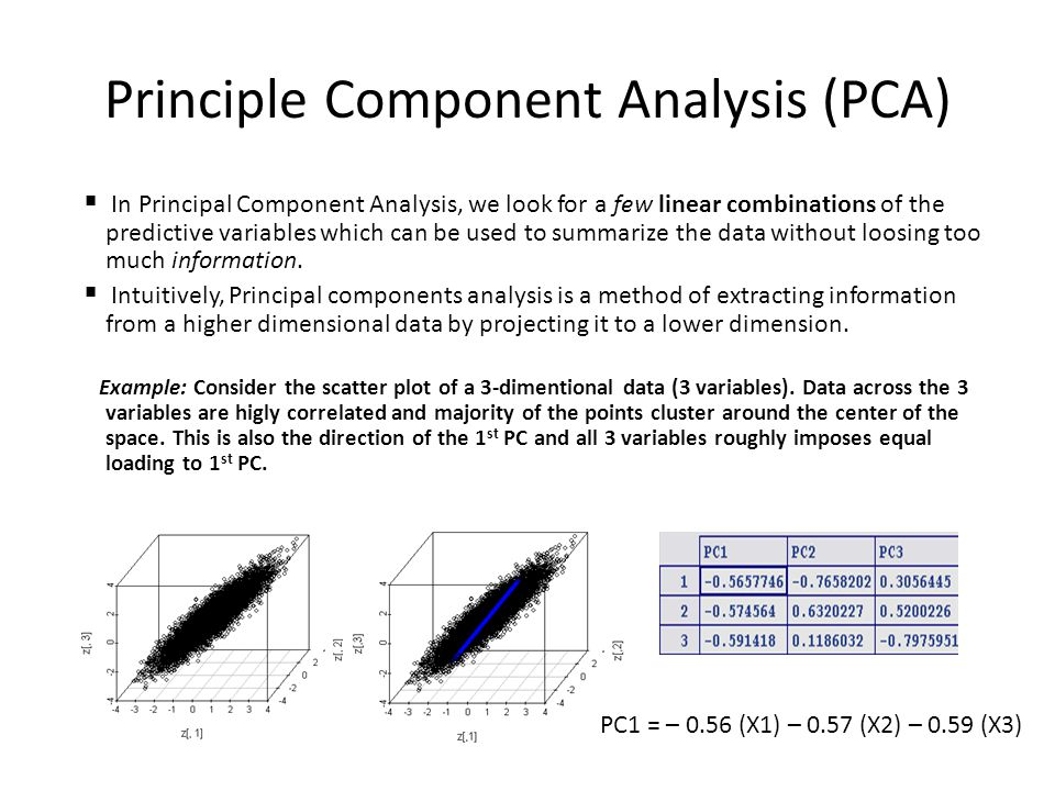 Principle Component Analysis (PCA)  In Principal Component Analysis, we look for a few linear combinations of the predictive variables which can be used to summarize the data without loosing too much information.