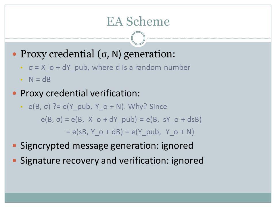 EA Scheme Proxy credential ( σ, N) generation:  σ = X_o + dY_pub, where d is a random number  N = dB Proxy credential verification:  e(B, σ) ?= e(Y