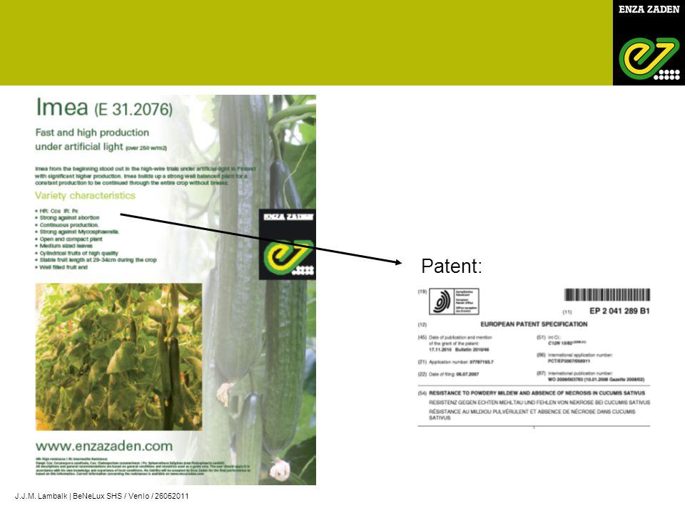 Patent: J.J.M. Lambalk | BeNeLux SHS / Venlo / 26052011