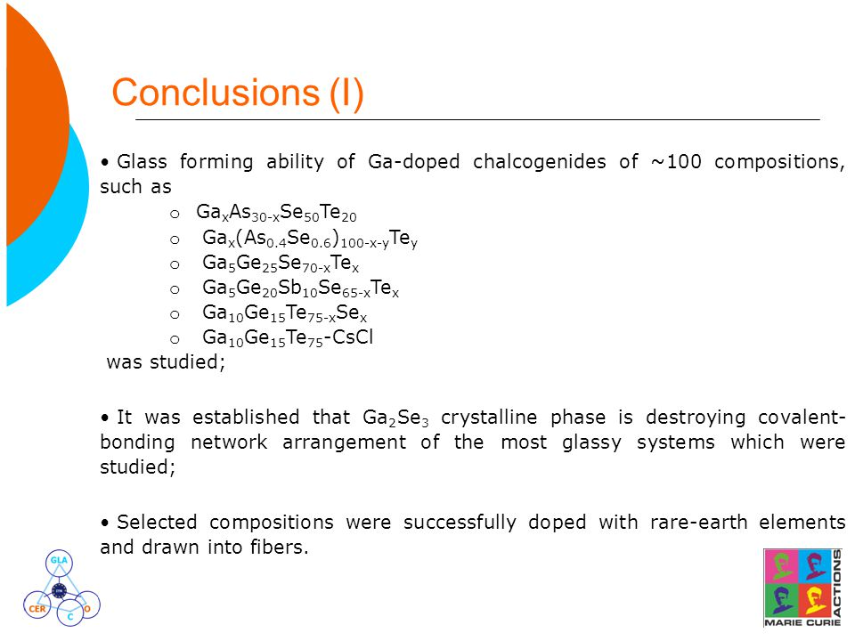 Glass forming ability of Ga-doped chalcogenides of ~100 compositions, such as o Ga x As 30-x Se 50 Te 20 o Ga x (As 0.4 Se 0.6 ) 100-x-y Te y o Ga 5 G