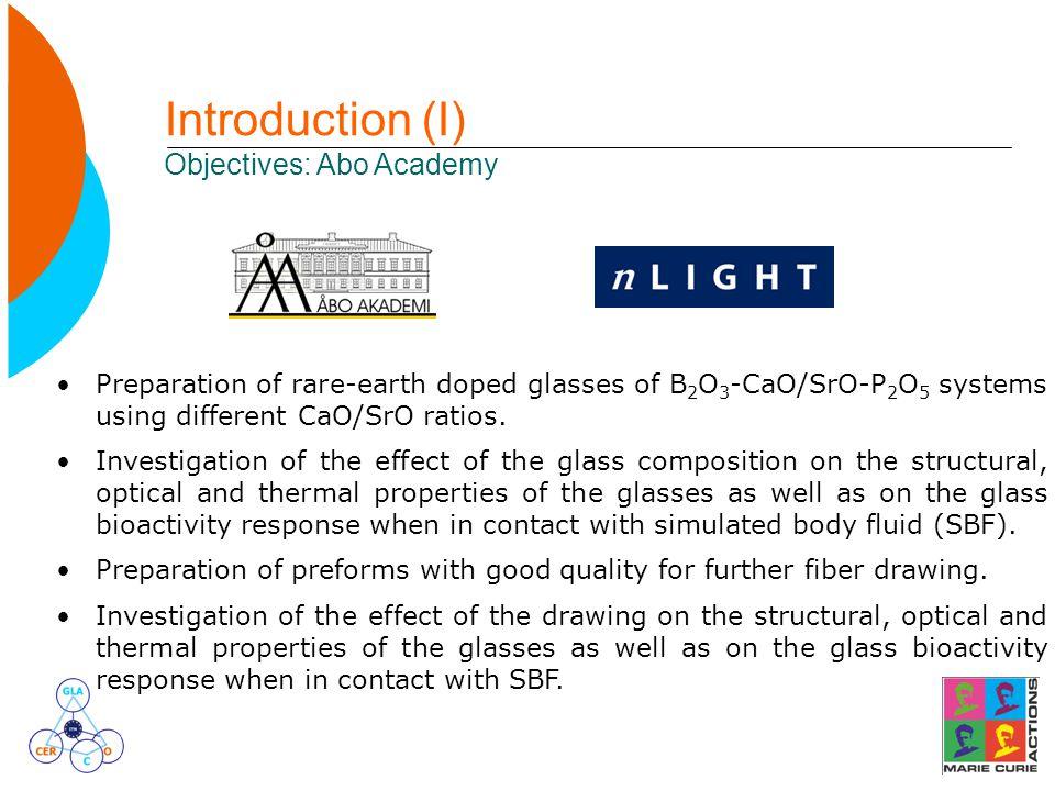 Introduction (I) Objectives: Abo Academy Preparation of rare-earth doped glasses of B 2 O 3 -CaO/SrO-P 2 O 5 systems using different CaO/SrO ratios. I