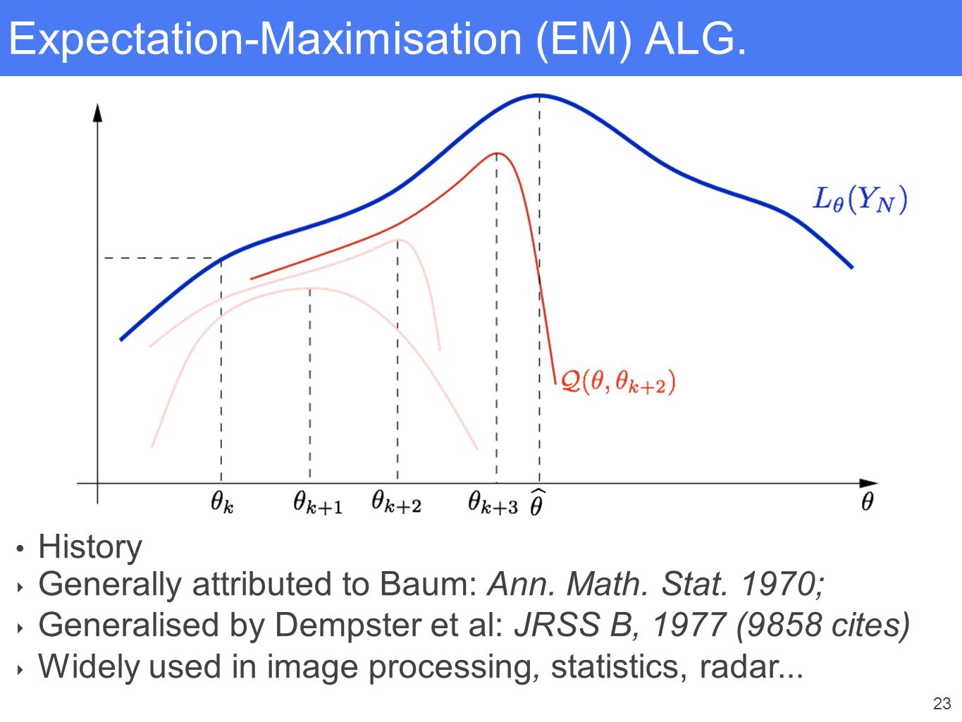 23 Expectation-Maximisation (EM) ALG. History ‣ Generally attributed to Baum: Ann. Math. Stat. 1970; ‣ Generalised by Dempster et al: JRSS B, 1977 (98
