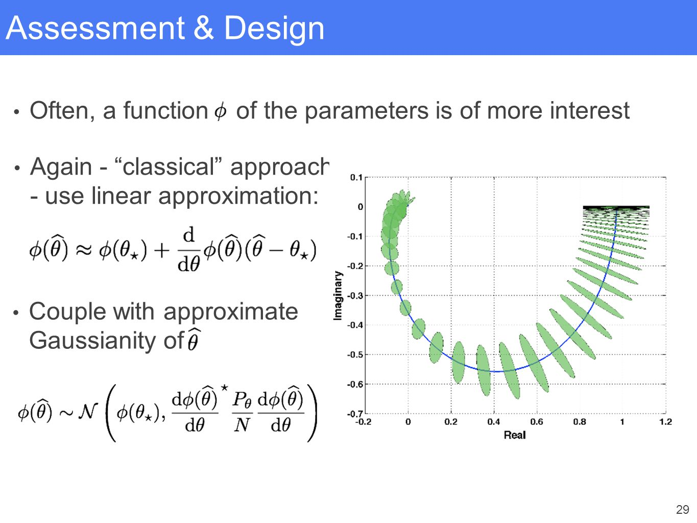"""29 Assessment & Design Often, a function of the parameters is of more interest Again - """"classical"""" approach - use linear approximation: Couple with ap"""