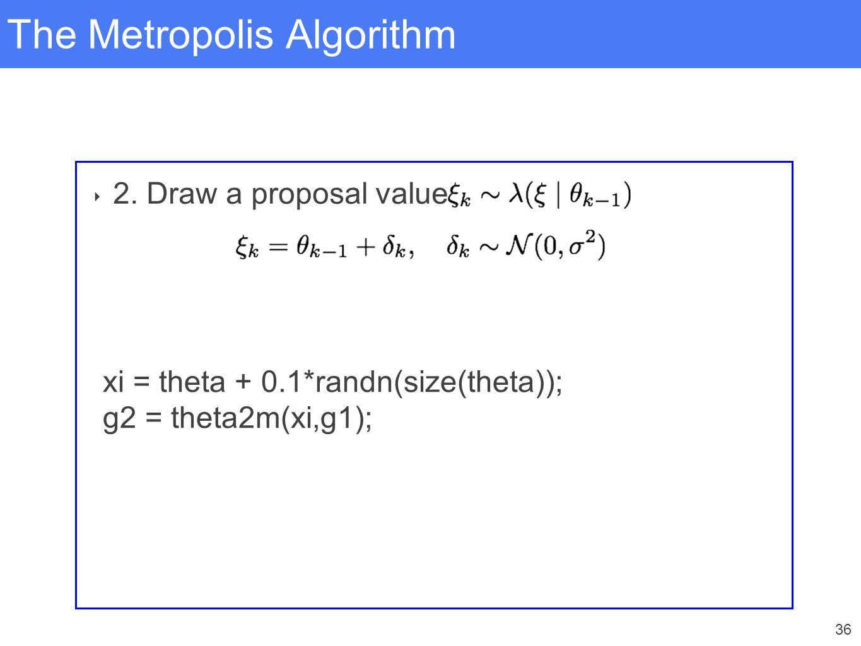 36 The Metropolis Algorithm ‣ 2. Draw a proposal value xi = theta + 0.1*randn(size(theta)); g2 = theta2m(xi,g1);