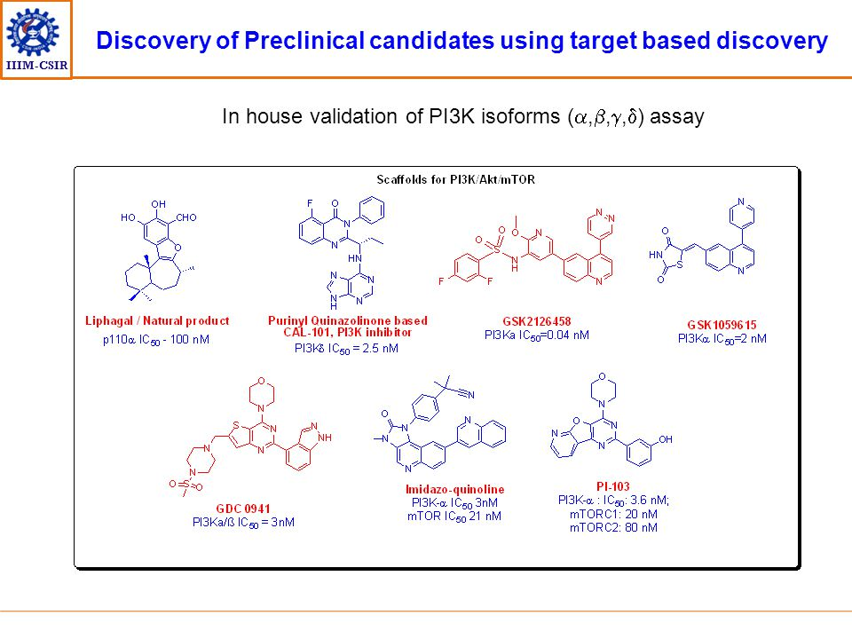 IIIM-CSIR Discovery of Preclinical candidates using target based discovery In house validation of PI3K isoforms ( , , ,  ) assay