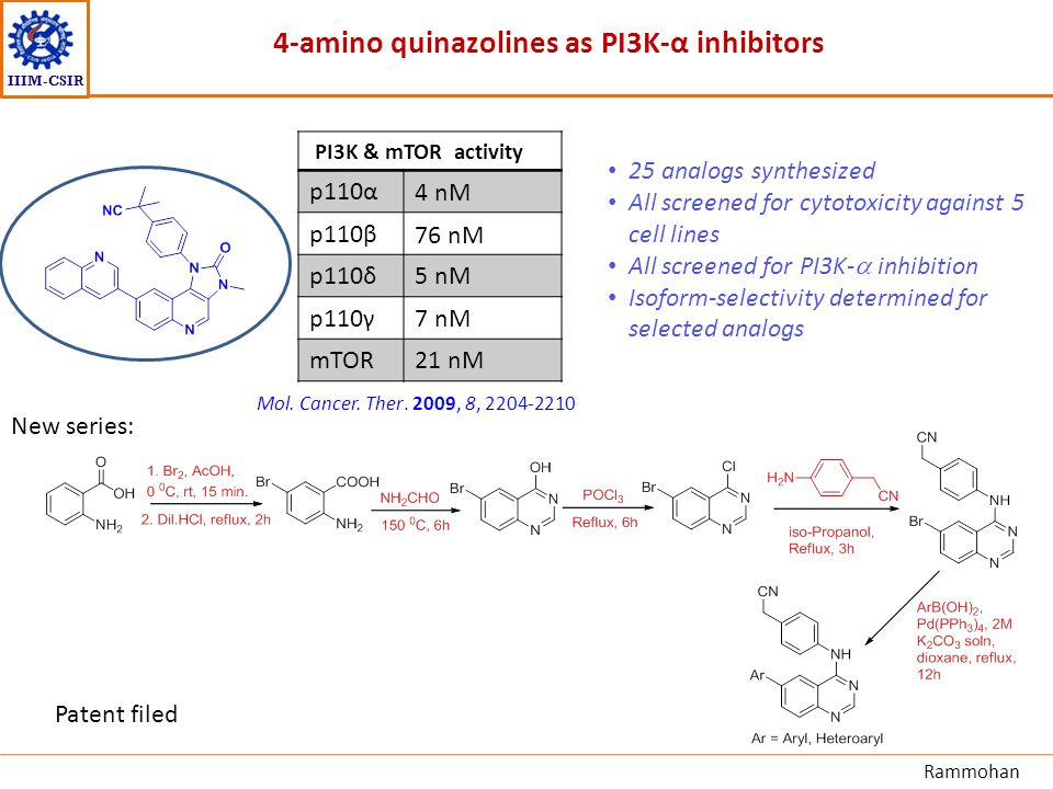 IIIM-CSIR 4-amino quinazolines as PI3K-α inhibitors PI3K & mTOR activity p110α4 nM p110β76 nM p110δ5 nM p110γ7 nM mTOR21 nM New series: 25 analogs syn