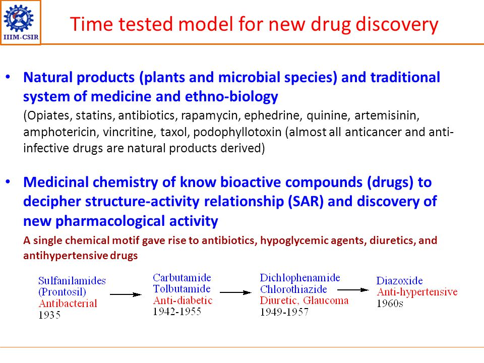 IIIM-CSIR Time tested model for new drug discovery Natural products (plants and microbial species) and traditional system of medicine and ethno-biolog