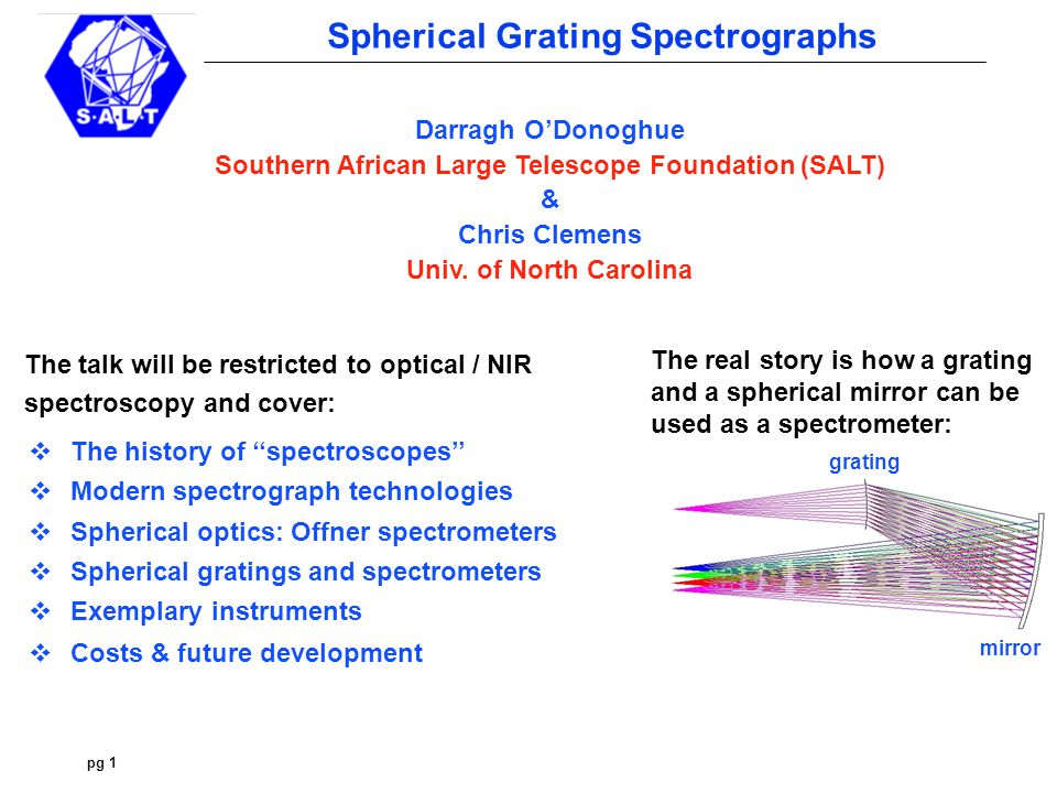 pg 2 Spherical Grating Spectrographs 19 th Century Spectroscopes Joseph von Fraunhofer's drew the lines of the solar spectrum using the spectroscope he invented in 1820 JvF demonstrating his spectroscope Prism Telescope Babinet and Simms introduced the collimator in France (1839) and England (1840) respectively.
