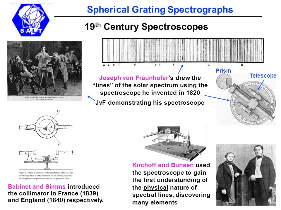 pg 13 Spherical Grating Spectrographs Layout of the mini prototype Proof Of Concept Prototype: 2012 May-June Design, procurement, commission and testing in 6 wks Resulting spectrum 1 x off-the-shelf spherical mirror, 50 mm in diameter, from Optosigma 2 x off-the-shelf meniscus lenses from JML Optical … … turned into a curved VPH grating in Chris' lab Some optical bench fixturing We only got eyeball estimates of performance (due to time limits): looked good..BUT measurements still needed 20 mm