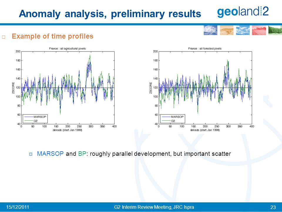 Anomaly analysis, preliminary results G2 Interim Review Meeting, JRC Ispra 23 15/12/2011  Example of time profiles  MARSOP and BP: roughly parallel development, but important scatter