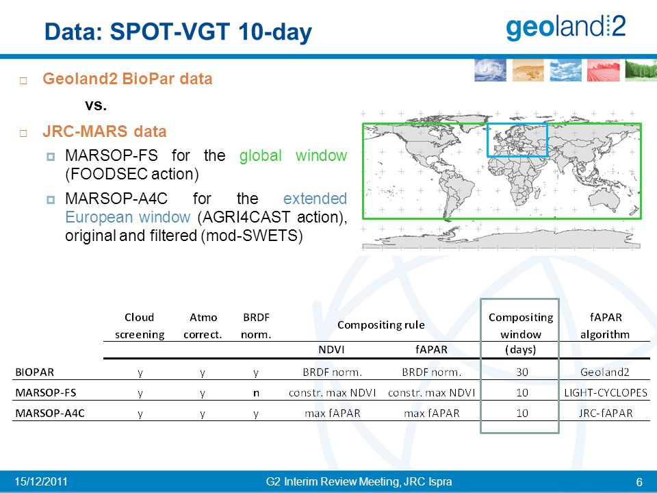 G2 Interim Review Meeting, JRC Ispra 7 15/12/2011 Biopar compositing window  dekadal products: composites updated every 10 days;  30 days compositing* window is asymmetric around the most representative day (16 day before and 13 after it, equally weighted); Considering the required processing time, the overall delay for data delivery is 16 days (MARSOP delay = 8 days) An issue for MARS NRT applications * Note that for BP the term compositing is not fully appropriate because the value assigned to the dekad is derived from the inversion of the linear reflectance model of Roujean et al.