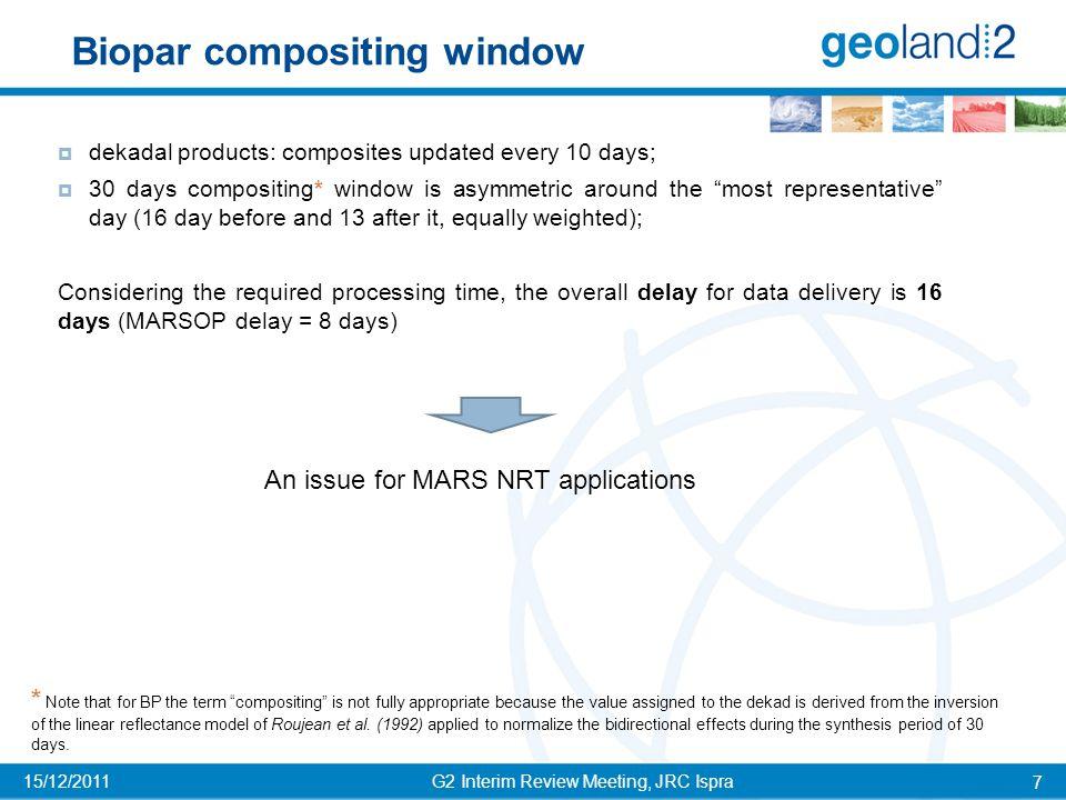 RESULTS – Temporal comparison G2 Interim Review Meeting, JRC Ispra 18 15/12/2011 BP Vs.