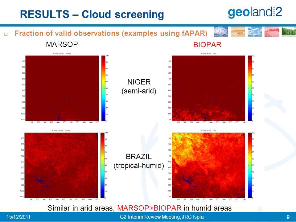 RESULTS – Cloud screening G2 Interim Review Meeting, JRC Ispra 10 15/12/2011  Temporal profile of fraction of valid observations MARSOP BIOPAR NIGER (semi-arid) BRAZIL (tropical-humid) NIGER (semi-arid) BRAZIL (tropical-humid) MARSOP>>BIOPAR in cloudy/rainy periods Cropland, Niger Cropland, Brazil