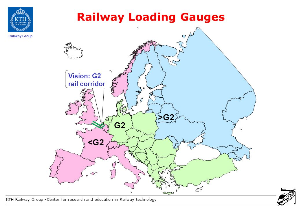 KTH Railway Group Center for research and education in Railway technology Railway Group Railway Loading Gauges >G2 G2 <G2 Vision: G2 rail corridor