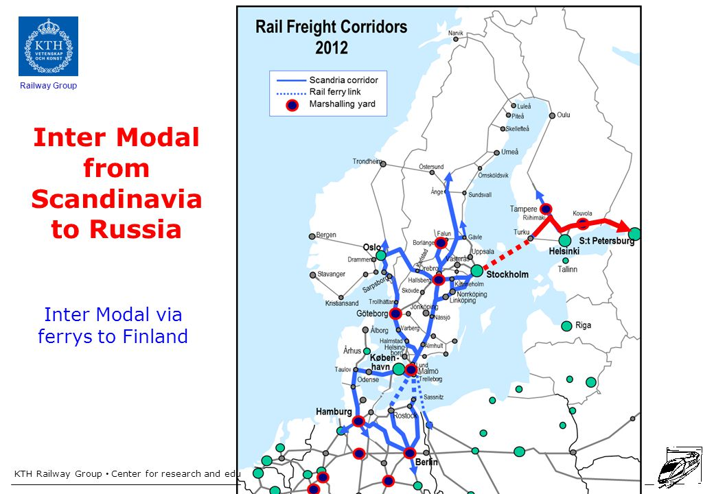 KTH Railway Group Center for research and education in Railway technology Railway Group Inter Modal from Scandinavia to Russia Inter Modal via ferrys to Finland