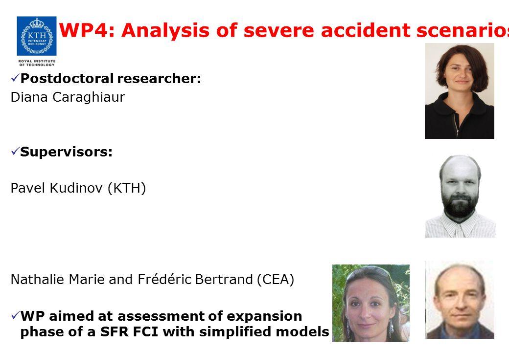 WP4: Analysis of severe accident scenarios Postdoctoral researcher: Diana Caraghiaur Supervisors: Pavel Kudinov (KTH) Nathalie Marie and Frédéric Bert