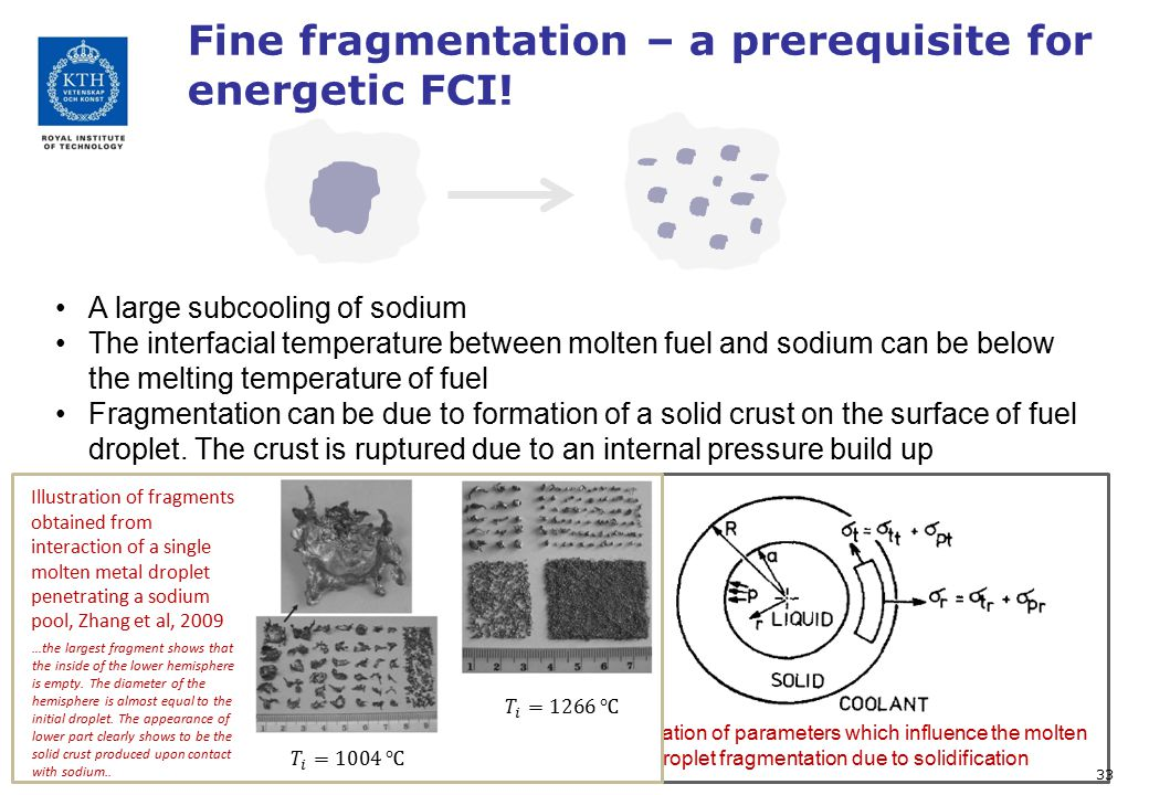 Fine fragmentation – a prerequisite for energetic FCI! A large subcooling of sodium The interfacial temperature between molten fuel and sodium can be