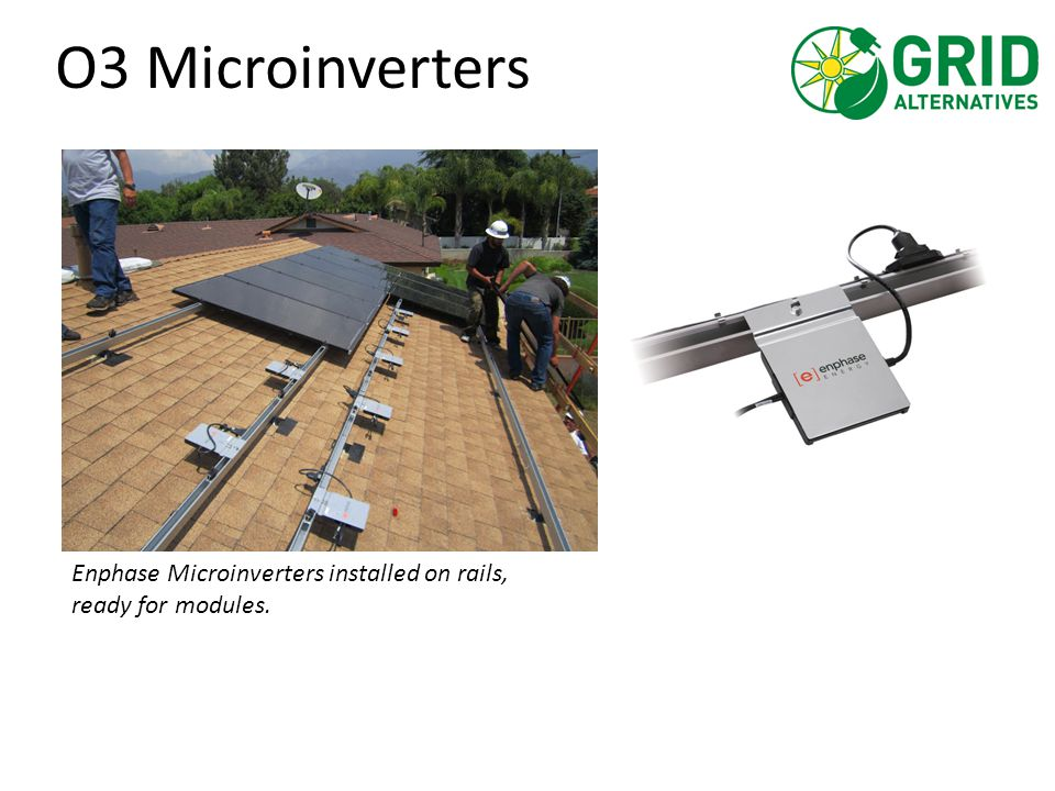 O3 Microinverters Enphase Microinverters installed on rails, ready for modules.