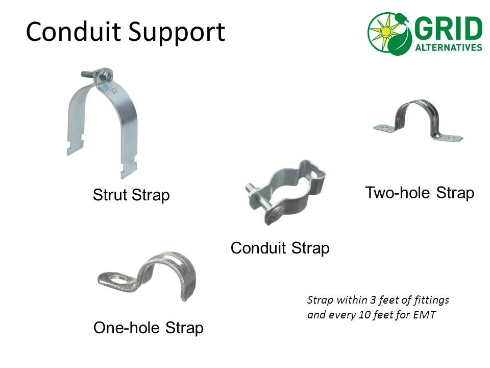 Two-hole Strap Conduit Support Conduit Strap One-hole Strap Strut Strap Strap within 3 feet of fittings and every 10 feet for EMT