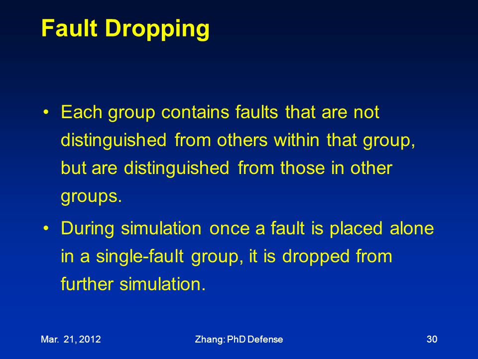 Fault Dropping Each group contains faults that are not distinguished from others within that group, but are distinguished from those in other groups.