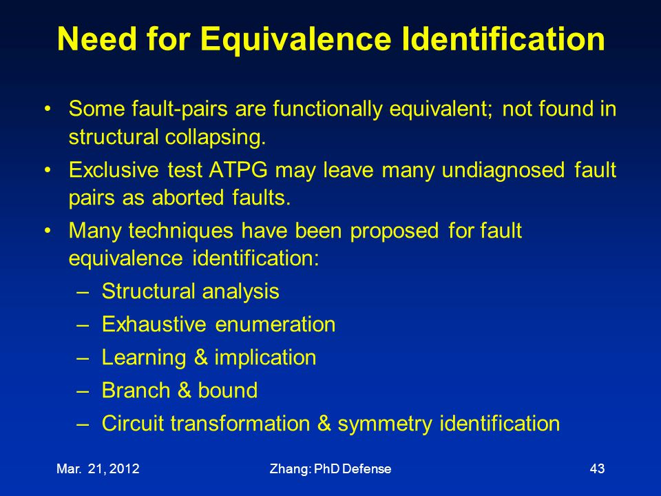Need for Equivalence Identification Mar. 21, 201243 Some fault-pairs are functionally equivalent; not found in structural collapsing. Exclusive test A